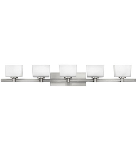 Hinkley 5025BN Taylor 5 Light 45 inch Brushed Nickel Bath Vanity Wall Light in Etched White photo