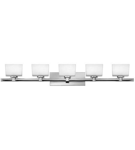 Hinkley 5025CM Taylor 5 Light 45 inch Chrome Bath Vanity Wall Light in Inside-Painted White,  Outside-Etched photo