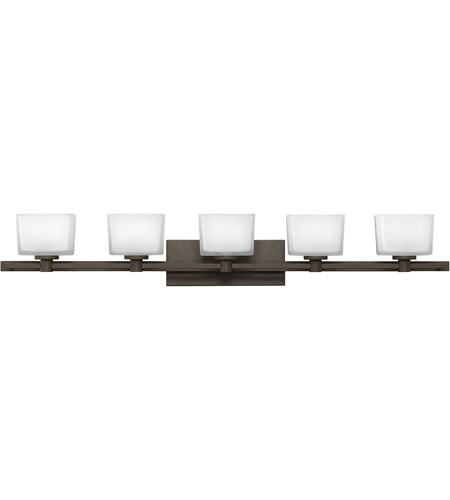 Hinkley 5025KZ Taylor 5 Light 45 inch Buckeye Bronze Bath Light Wall Light in G9, Etched White Glass photo