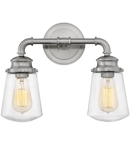 Hinkley 5032BN Fritz 2 Light 15 Inch Brushed Nickel Bath Sconce Wall Light