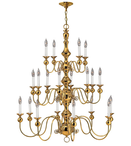 Hinkley 5127PB Virginian 20 Light 37 inch Polished Brass Chandelier Ceiling Light, 3 Tier photo