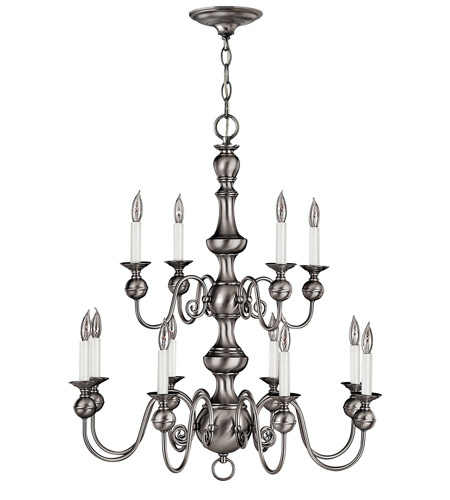 Hinkley Lighting Virginian 12 Light Chandelier in Pewter 5129PW