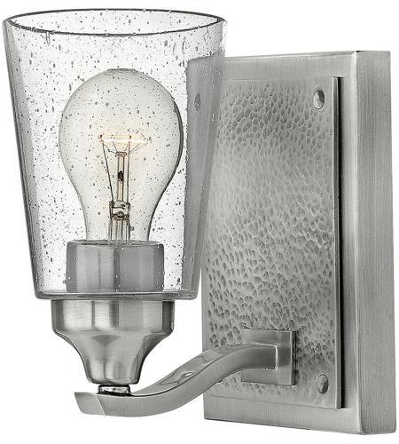 Hinkley 51820BN Jackson 1 Light 5 Inch Brushed Nickel Bath Sconce Wall  Light, Clear Seedy Glass