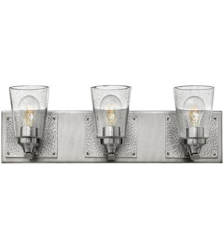 Hinkley 51823BN Jackson 3 Light 24 Inch Brushed Nickel Bath Light Wall Light,  Clear Seedy Glass