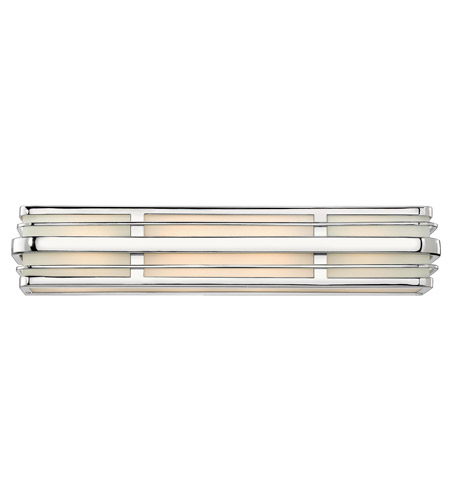Hinkley 5234CM-GU24 Winton 4 Light 26 inch Chrome Bath Vanity Wall Light in GU24, Inside White Etched Panels Glass photo