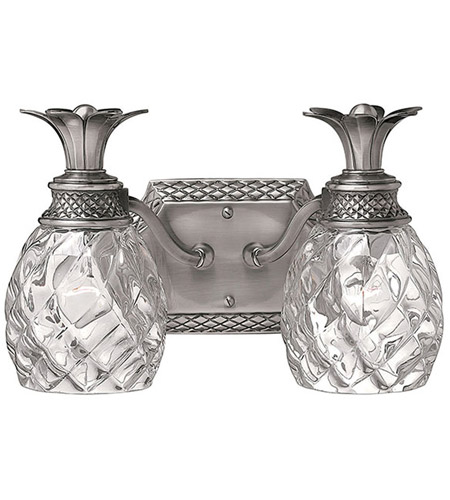 Hinkley 5312PL Plantation 2 Light 13 inch Polished Antique Nickel Bath Light Wall Light photo