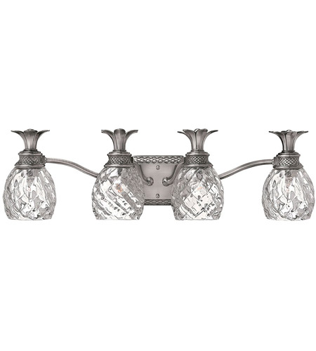 Hinkley 5314PL Plantation 4 Light 29 inch Polished Antique Nickel Bath Vanity Wall Light photo