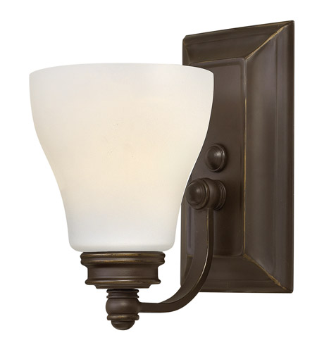 Hinkley 53580OZ Claire 1 Light 5 inch Oil Rubbed Bronze Bath Wall Light, Etched Opal Glass photo