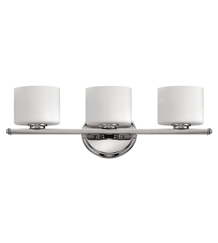 Hinkley lighting ocho 3 light bath vanity in chrome 5423cm for Hinkley bathroom vanity lighting