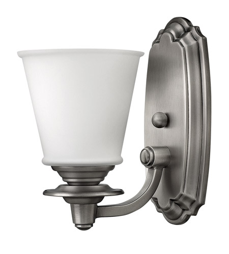 Hinkley 54260PL Plymouth 1 Light 6 inch Polished Antique Nickel Bath Vanity Wall Light, Etched Opal Glass photo