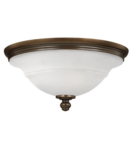 Hinkley 54261OB Plymouth 3 Light 18 inch Olde Bronze Flush Mount Ceiling Light, Etched Opal Glass photo