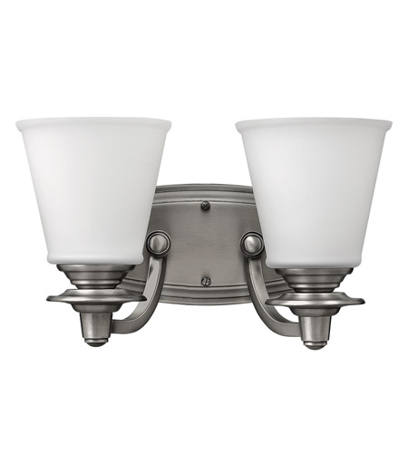 Hinkley 54262PL Plymouth 2 Light 14 inch Polished Antique Nickel Bath Vanity Wall Light, Etched Opal Glass photo