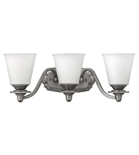 Hinkley 54263PL Plymouth 3 Light 22 inch Polished Antique Nickel Bath Vanity Wall Light, Etched Opal Glass photo
