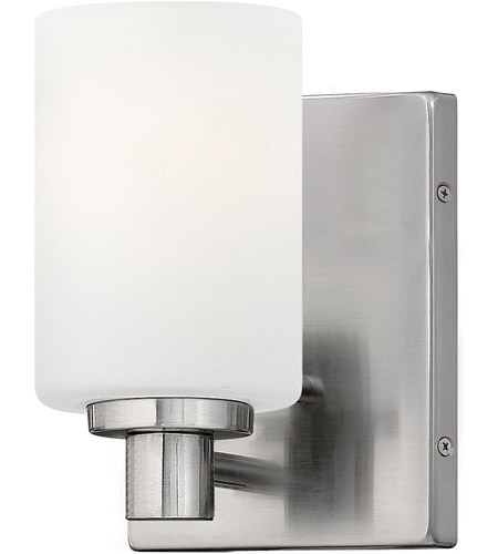 Hinkley BN Karlie Light Inch Brushed Nickel Bath Sconce - Satin nickel bathroom sconces