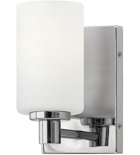 hinkley 54620cm karlie 1 light 5 inch chrome bath sconce wall light etched opal glass