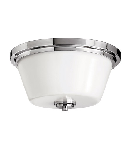Hinkley 5551CM-GU24 Signature 2 Light 15 inch Chrome Flush Mount Ceiling Light in GU24, Etched Opal Glass photo