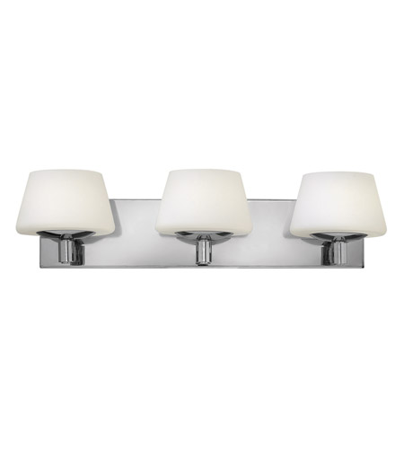 Hinkley 55753cm bianca 3 light 23 inch chrome bath vanity for Hinkley bathroom vanity lighting