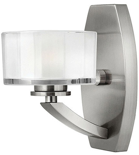 Hinkley 5590BN Meridian 1 Light 5 inch Brushed Nickel Bath Vanity Wall Light in Clear Inside Etched, G9 photo
