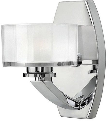 Hinkley 5590CM Meridian 1 Light 5 inch Chrome Bath Vanity Wall Light in Clear Inside Etched, G9 photo