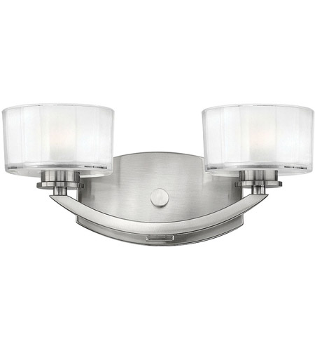 Hinkley 5592BN Meridian 2 Light 14 inch Brushed Nickel Bath Vanity Wall Light in Clear Inside Etched, G9 photo