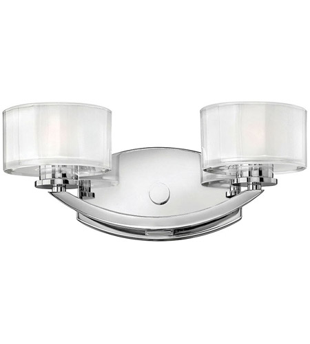 Hinkley 5592CM Meridian 2 Light 14 inch Chrome Bath Vanity Wall Light in Clear Inside Etched, G9 photo