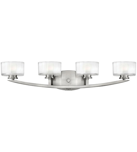 Hinkley 5594BN Meridian 4 Light 29 inch Brushed Nickel Bath Vanity Wall Light in Clear Inside Etched, G9 photo