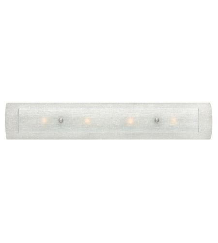 Hinkley 5614BN Duet 4 Light 3 inch Brushed Nickel Bath Vanity Wall Light in White Linen and Rain, G9, Clear Rain Glass photo