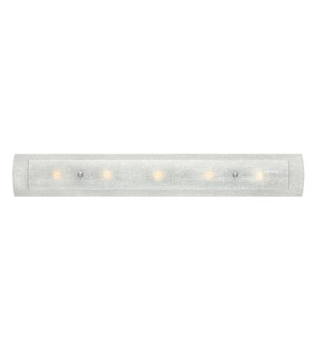 Hinkley 5615bn Duet 5 Light 36 Inch Brushed Nickel Bath Vanity Wall Light In White Linen And Rain G9 Clear Rain Glass
