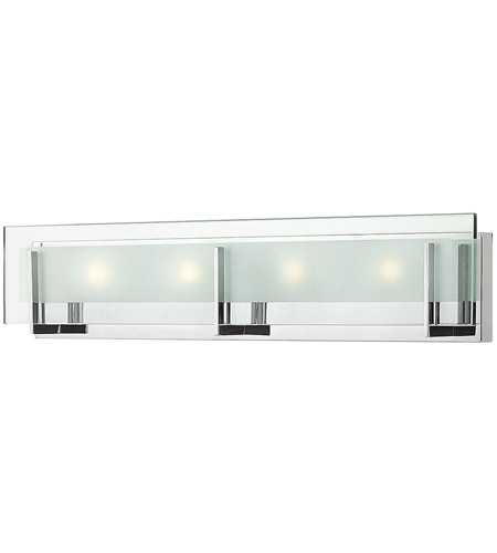 hinkley 5654cmled2 latitude led 26 inch chrome bath light wall light clearetched glass