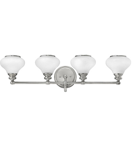 Hinkley 56554PN Ainsley 4 Light 33 inch Polished Nickel Bath Light Wall Light, Cased Opal Glass photo