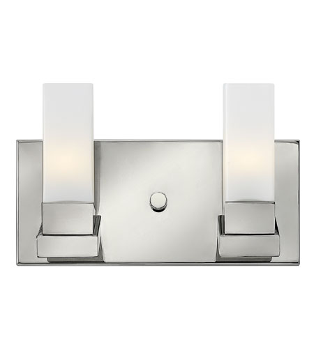 Hinkley 57202PN Omni 2 Light 12 inch Polished Nickel Bath Wall Light, Etched Opal Glass photo