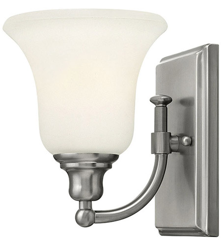 Hinkley 58780bn colette 1 light 6 inch brushed nickel bath sconce hinkley 58780bn colette 1 light 6 inch brushed nickel bath sconce wall light white etched glass aloadofball Image collections