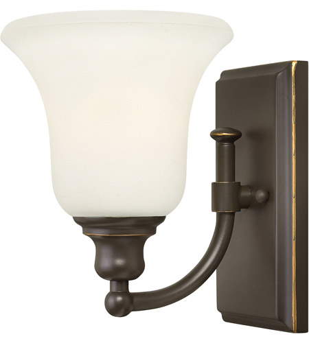 Hinkley 58780OZ Colette 1 Light 6 inch Oil Rubbed Bronze Bath Wall Light, White Etched Glass photo
