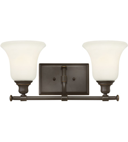 Hinkley 58782OZ Colette 2 Light 17 inch Oil Rubbed Bronze Bath Light Wall Light, White Etched Glass photo