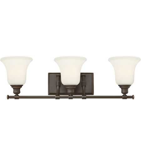 Hinkley 58783OZ Colette 3 Light 26 inch Oil Rubbed Bronze Bath Wall Light, White Etched Glass photo