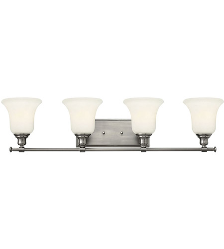 Hinkley 58784BN Colette 4 Light 33 inch Brushed Nickel Bath Light Wall Light, White Etched Glass photo