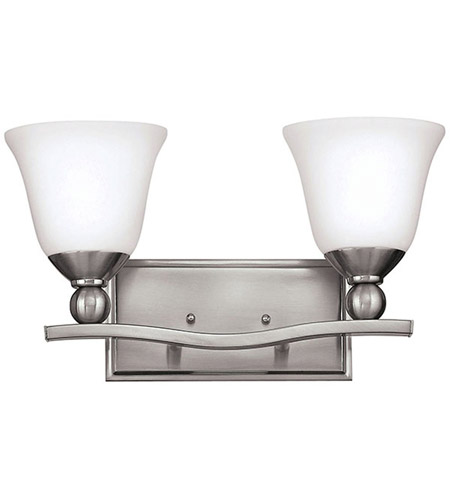 Hinkley 5892BN Bolla 2 Light 16 inch Brushed Nickel Bath Vanity Wall Light in Etched Opal, Incandescent photo