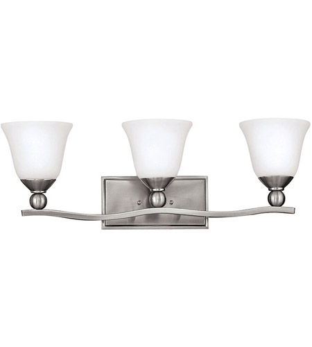 Hinkley 5893BN Bolla 3 Light 26 Inch Brushed Nickel Bath Light Wall Light  In Incandescent, Etched Opal