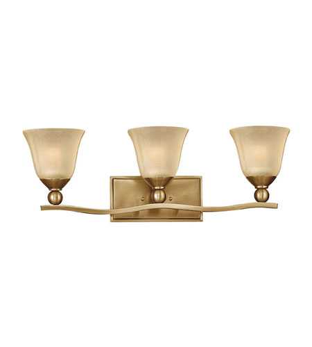 Hinkley lighting bolla 3 light bath vanity in brushed for Hinkley bathroom vanity lighting