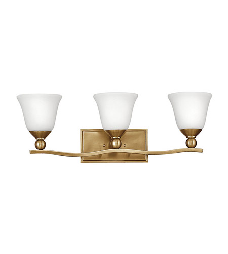 Hinkley 5893br Op Bolla 3 Light 26 Inch Brushed Bronze Bath Vanity Wall Light Etched Opal Glass