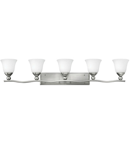 Hinkley 5895BN Bolla 5 Light 46 inch Brushed Nickel Bath Vanity Wall Light in Etched Opal, Incandescent photo