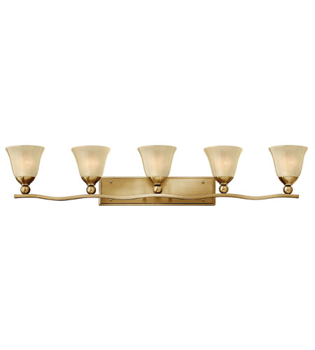 Hinkley lighting bolla 5 light bath vanity in brushed for Hinkley bathroom vanity lighting