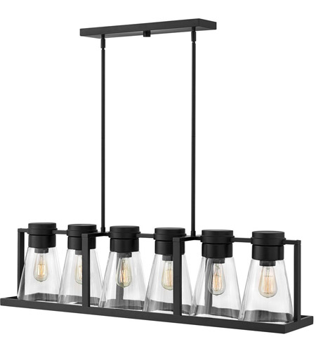 Hinkley 63306BK-CL Refinery 6 Light 44 inch Black Linear Chandelier Ceiling Light in Clear Seedy photo