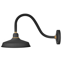 Hinkley 10342TK Foundry 1 Light 14 inch Textured Black with Brass Accents Outdoor Wall Mount