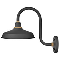 Hinkley 10362TK Foundry 1 Light 17 inch Textured Black with Brass Accents Outdoor Wall Mount