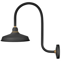 Hinkley 10372TK Foundry 1 Light 24 inch Textured Black with Brass Accents Outdoor Wall Mount