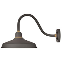 Hinkley 10443MR Foundry 1 Light 15 inch Museum Bronze with Brass Accents Outdoor Wall Mount