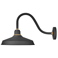Hinkley 10443TK Foundry 1 Light 15 inch Textured Black with Brass Accents Outdoor Wall Mount