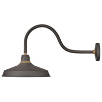 Hinkley 10453MR Foundry 1 Light 17 inch Museum Bronze with Brass Accents Outdoor Wall Mount