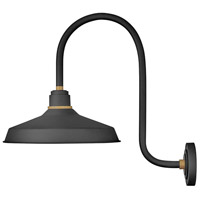 Hinkley 10473TK Foundry 1 Light 24 inch Textured Black with Brass Accents Outdoor Wall Mount
